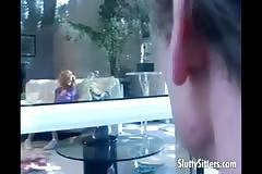 Horny babysitter handling two guys