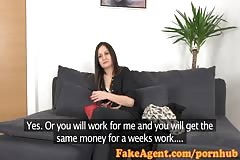 FakeAgent Sexy brunette amateur takes huge facial in Casting interview