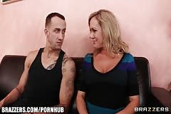 HOT blonde MILF Brandi Love rides her handy man's big-dick