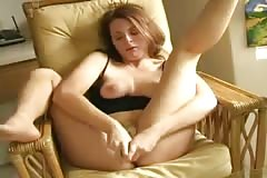 Milf masturbates until she squirts at home